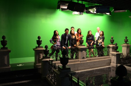 The magic revealed with the green screen as the backdrop for the class