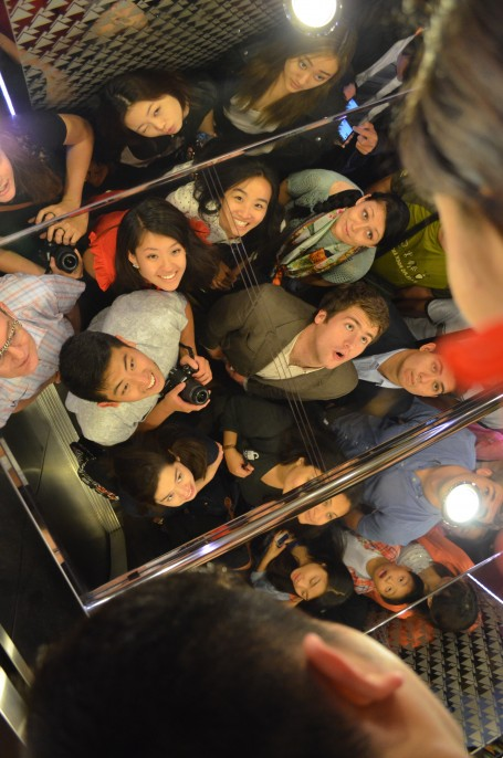 A portion of the class in the elevator ride 273m up to the top of the Pearl Tower.