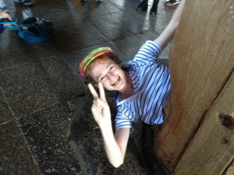 A picture of me crawling through a pillar in Todaiji temple.