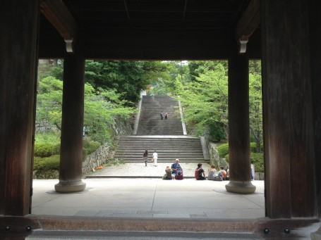 Picture of stairs up to Chionin Temple from inside Sanmon Gate.