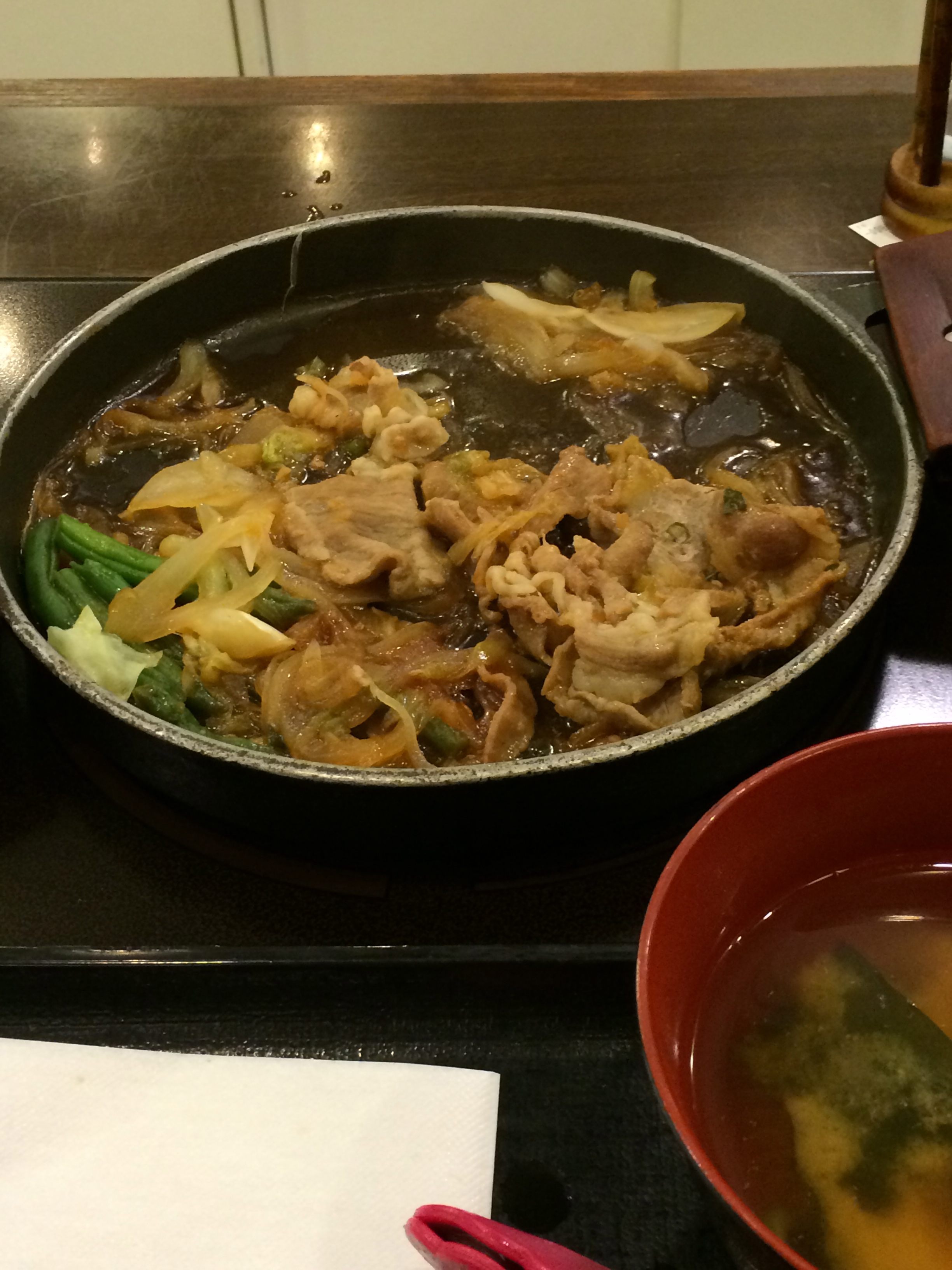 Our first meal in Japan! (Pork Shogayaki).