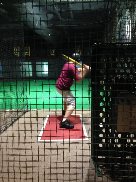 David at the batting cages