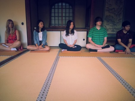USC students learning how to meditate.