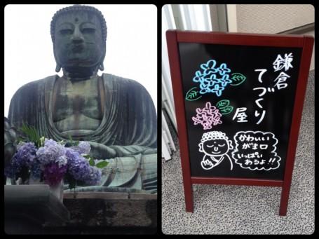 Hydrangea with the grand Buddha statue in Kamakura