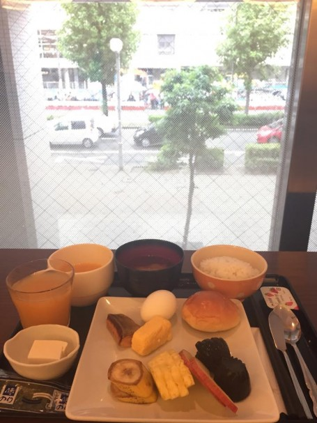 Breakfast overlooking Kyoto Station