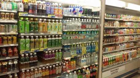 Drink aisle in Family Mart