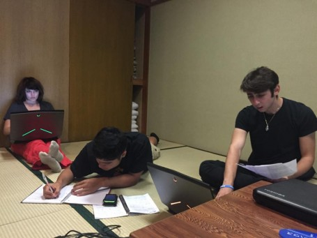 A few studious USC students working very hard on their upcoming presentations.