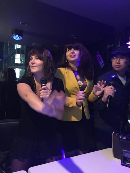 Chris, Steve and Andi singing their hearts out during karaoke