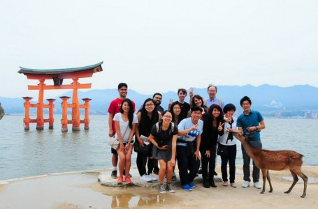 Our class and a deer on Miyajima in front of its famous Tori gate