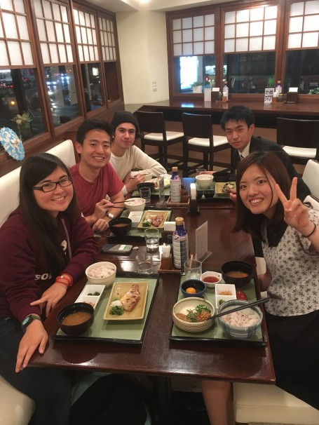 Grant, Daniel, Makoto, Shun, and I at dinner after working on our research projects