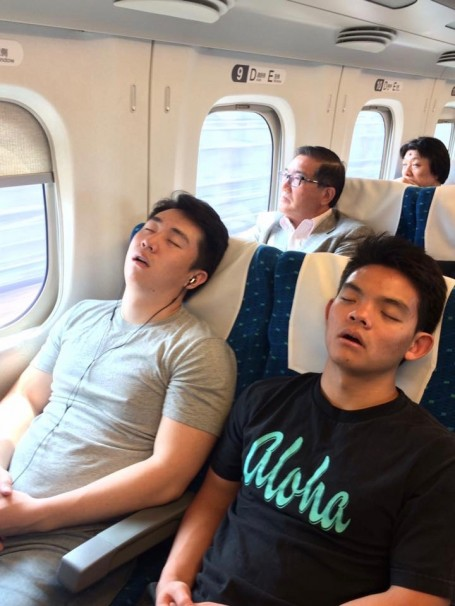 Reliable Rio, our TA, caught Alex (left) and me (right) sleeping on the Shinkansen.