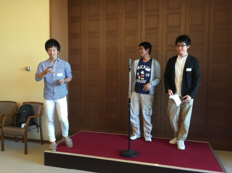 Our Meiji student speakers giving a last goodbye speech to the class.