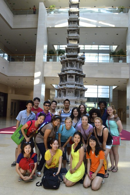 Our class in front of the Buddhist stupa