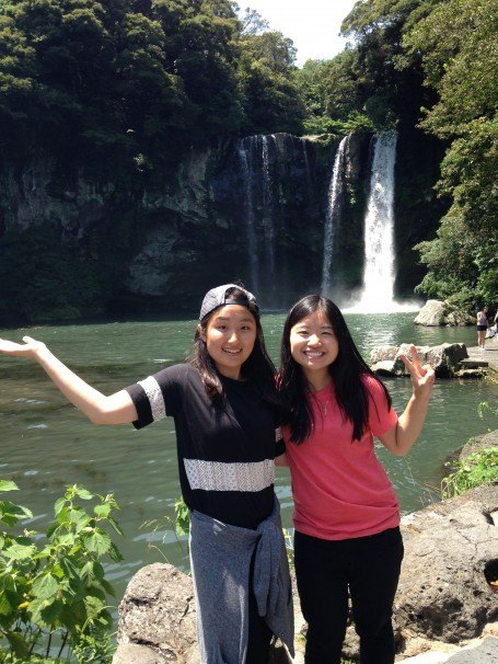 This is Chongiin and I in front of the marvelous Cheonjiyeon Waterfall!