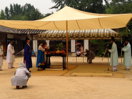 A reenactment of a traditional Korean wedding.