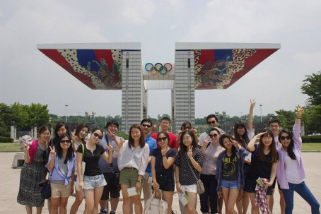 Group photo at the Olympic Park Peace Gate