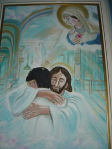 A painting in the main Casa meditation hall depicts Mary watching Jesus embrace John of God.  One of many Christian images linking John of God to Jesus at the Casa.