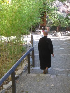 Zen Buddhist Monk at Tassajara wearing the preferred dark colors of the tradition.