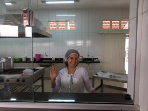 Author, Luli, in the soup kitchen
