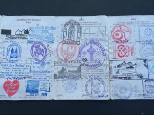 Pilgrims receive stamps from hostels, churches and restaurants to trace their paths and as proof of their journeys.