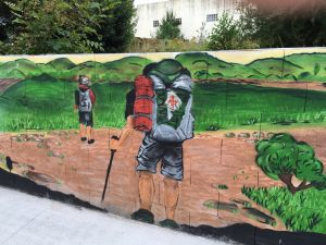 Along the Camino there is Pilgrimage art: the Cathedrals and monuments of course, but also folk murals like this one.