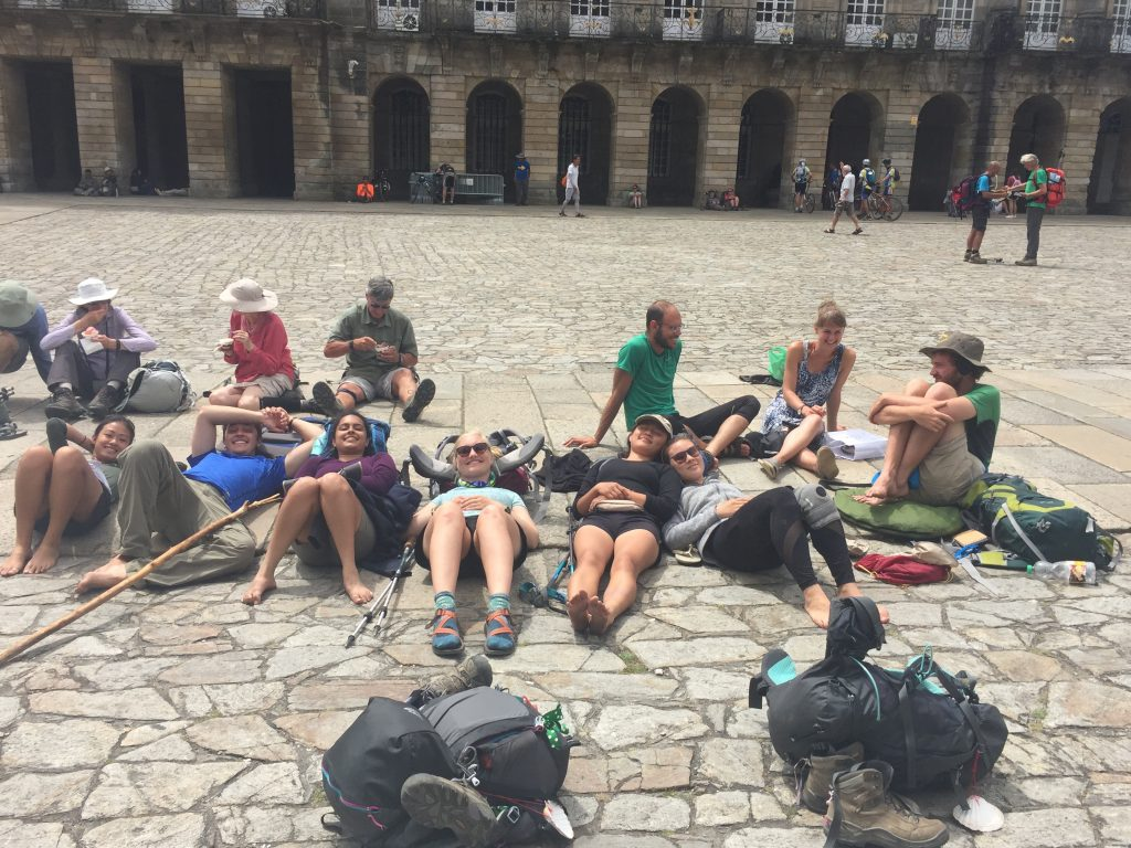 Victory Siesta upon arrival in Santiago after 200 miles of walking.
