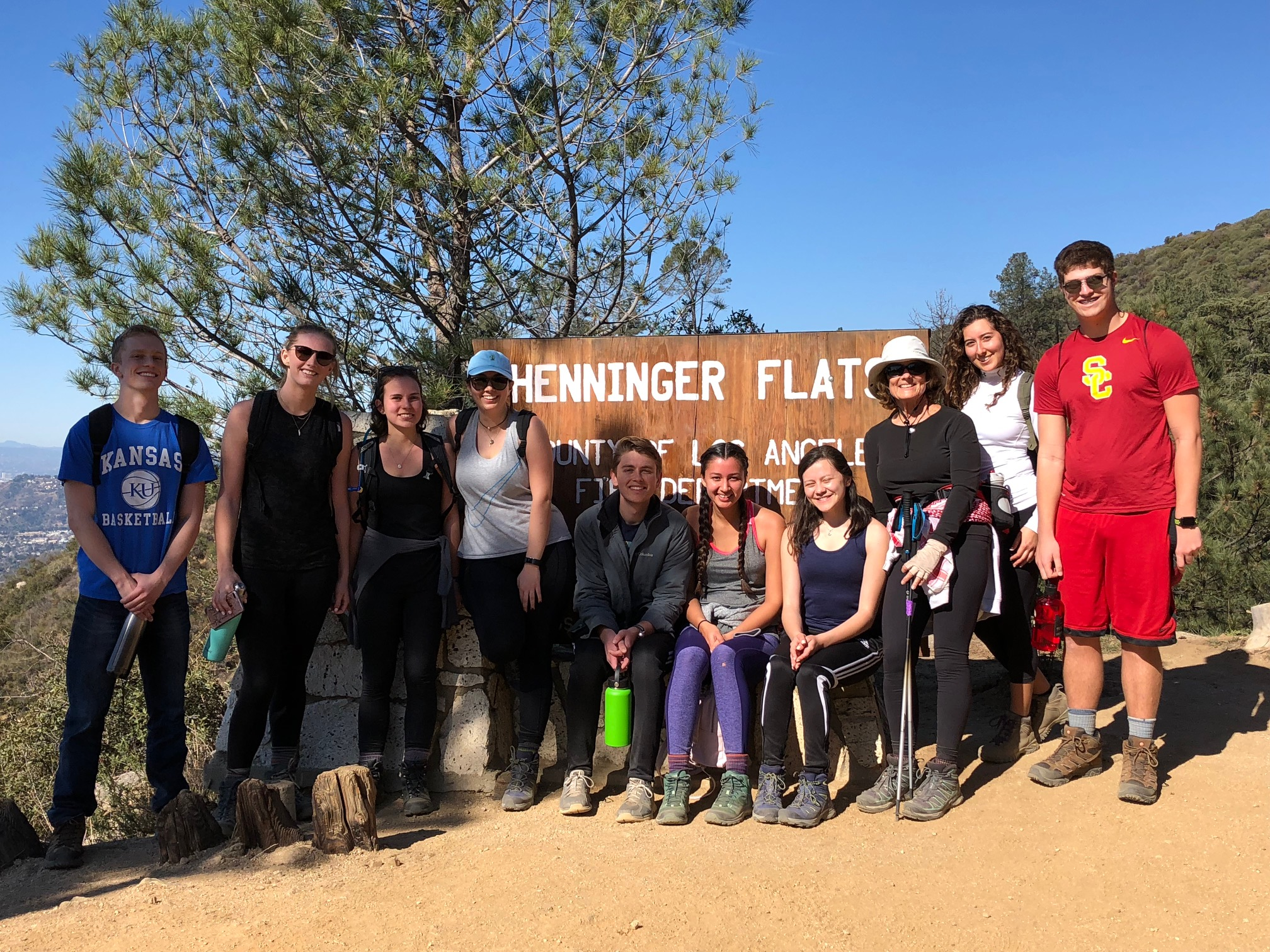 Maymester Class 2018 hiking 7.5 miles to Henninger flats in Altadena.  Trying out the new boots.