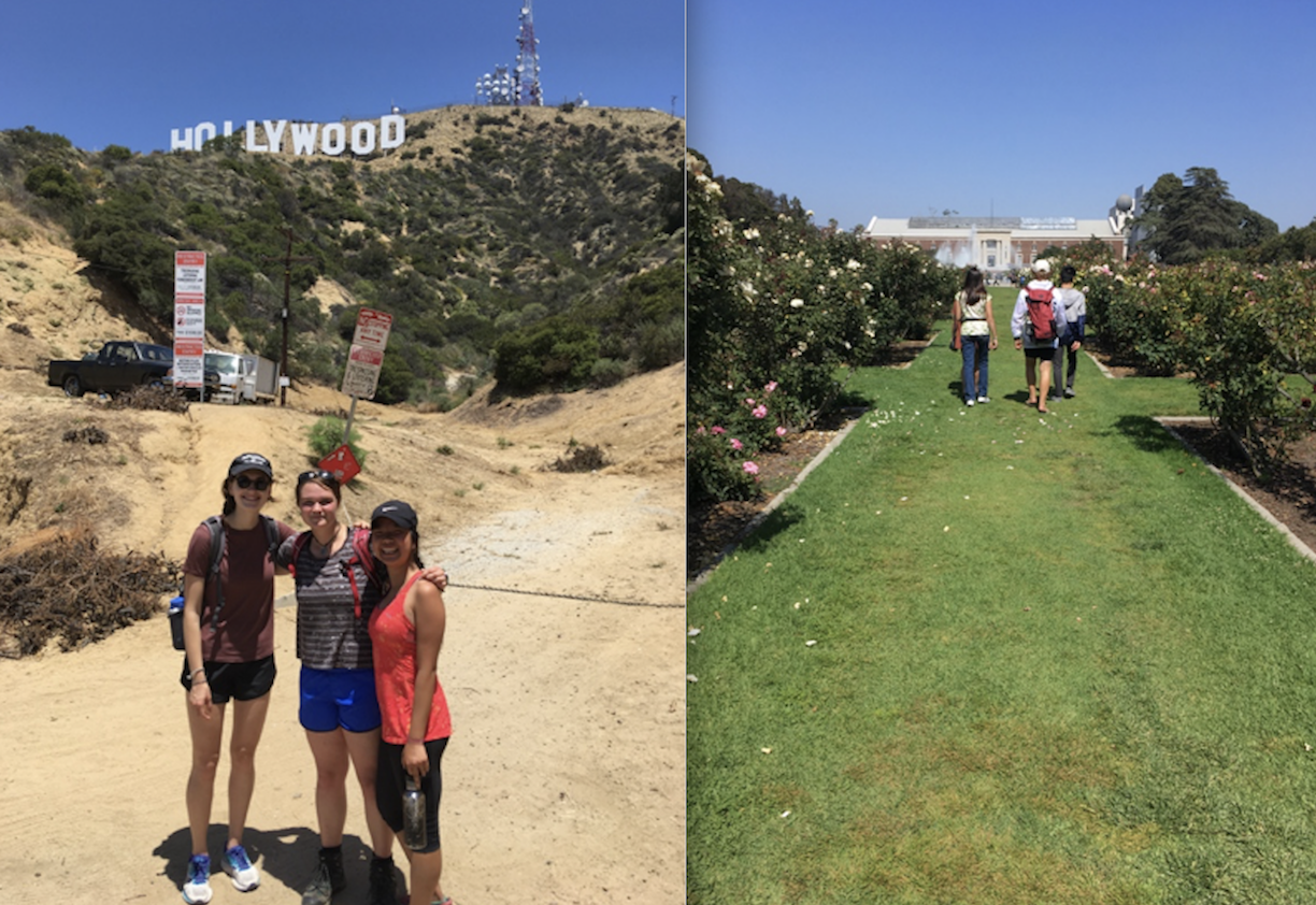 REU students at the Hollywood sign, and walking to the CA Science Center
