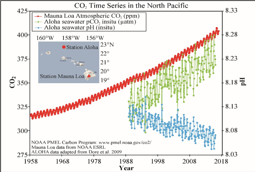 Ocean data collected at Station Aloha in Hawaii shows increasing dissolved CO2 (green line), and decreasing pH (blue line; lower pH means higher acidity) over the past 30 years. These ocean CO2 and pH trends are caused by increasing atmospheric CO2 (red line).