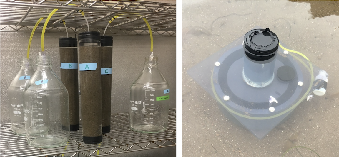 Laboratory-based sand columns (left) and field-based chamber (right) used to measure carbonate dissolution. In both experiments, acidic water replicating future ocean conditions is pumped through the sand.